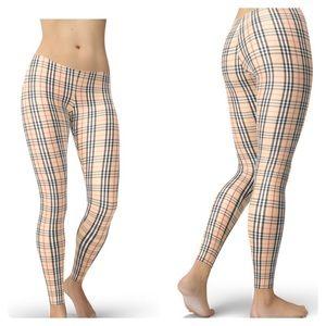 Pants - NEW Nova Check Burberry Style Plaid Leggings OSFA